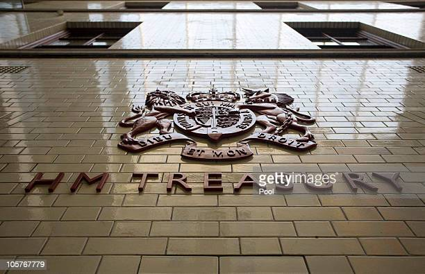 The sign for Her Majety's Treasury is seen inside the Treasury building on October 20 2010 in central London England Chancellor of the Exchequer...