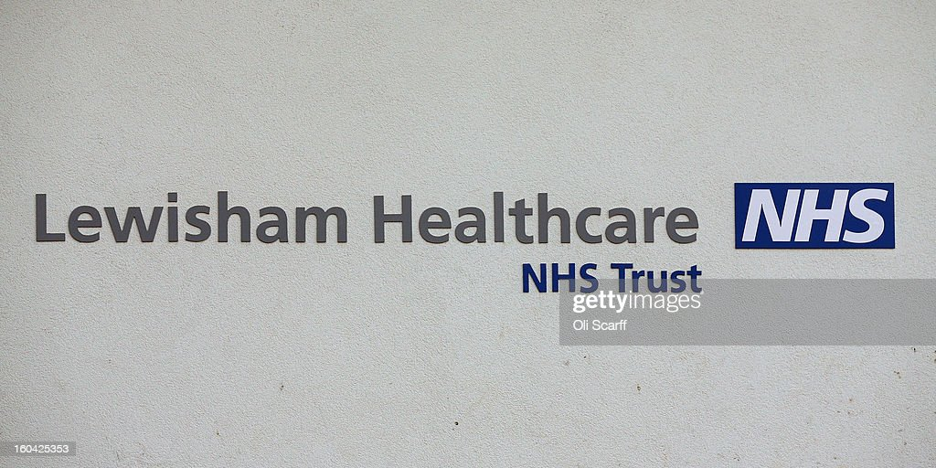The sign for Lewisham Hospital, whose A&E department is to be downgraded and reduced in size as part of cost-cutting measures, on January 31, 2013 in London, England. Health Secretary Jeremy Hunt today announced the cuts to Lewisham's Accident and Emergency and Maternity units in a bid to reduce debts of 150 million GBP held by the neighbouring South London Healthcare NHS Trust. Over 15,000 people had attended a protest march against the cuts on January 26, 2013.