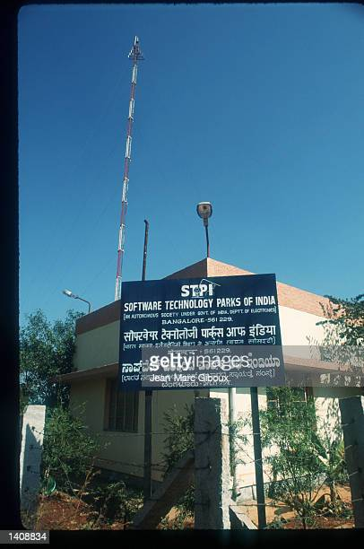The sign for Software Technology Parks of India is on display March 12 1996 in Bangalore India Bangalore housing over 6 million people with a...