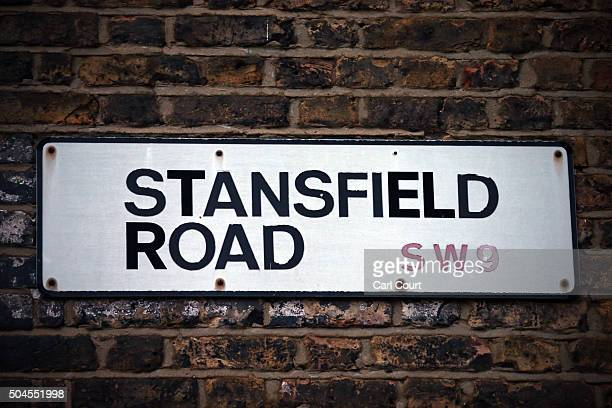 The sign for Stansfield Road the street in which David Bowie was born and spent the first years of his life on January 11 2016 in Brixton London...