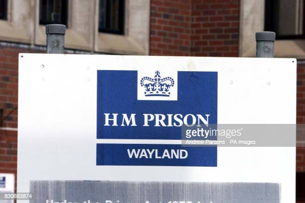 The sign for the Category C jail Wayland prison near Thetford Norfolk to where disgraced peer Lord Archer got transferred after spending three weeks...