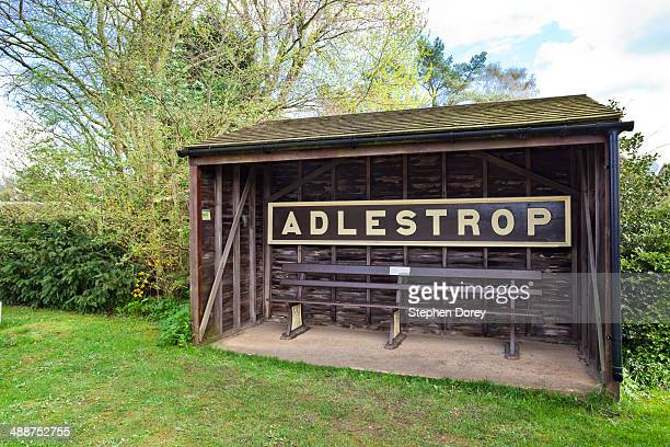 The sign for the Cotswold village of Adlestrop UK