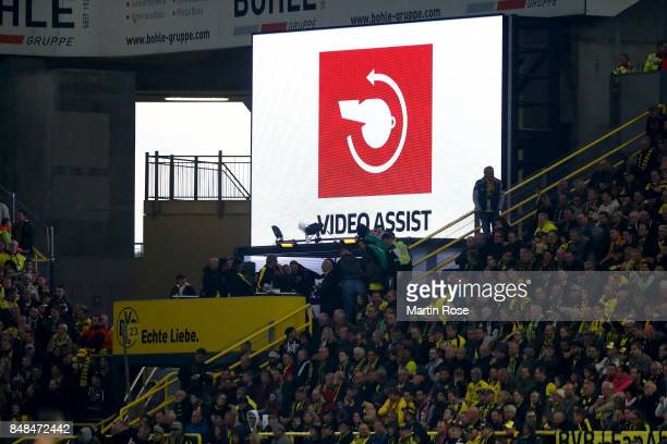 The Sign for the video referee on the screen during the Bundesliga match between Borussia Dortmund and 1 FC Koeln at Signal Iduna Park on September...