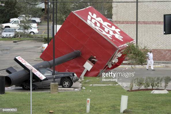 The Sign From A Jack In The Box Restaurant Crashed Down On