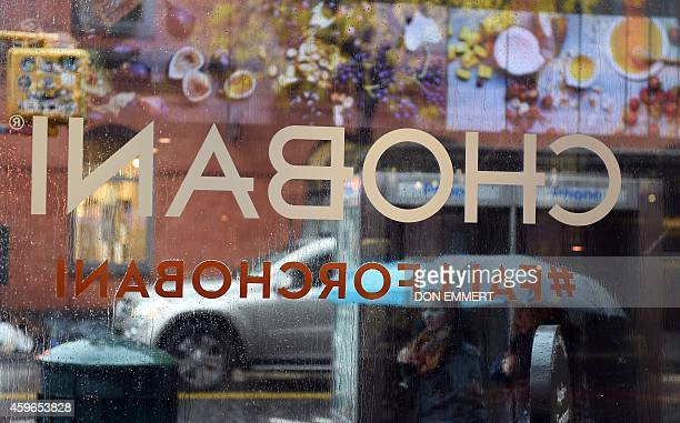 The sign from inside Chobani SoHo cafe during an interview on November 17 2014 in New York Chobani has become the bestselling yogurt in the US...