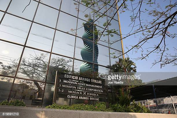The sign in front of the building that houses the law firm Mossack Fonseca Co is seen on April 7 2016 in Panama City Panama The law firm which...
