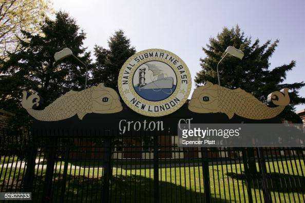 The sign is seen at the front gate of the US Naval Submarine Base May 13 2005 in Groton Connecticut The Pentagon officials announced the possible...
