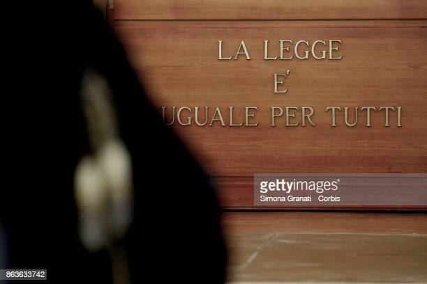 The sign 'La legge è uguale per tutti' during the New trial against five military police officers for the death Stefano Cucchi on October 20 2017 in...