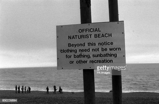 The sign marking the start of the naturist beach in Brighton Sussex The nudist beach was opened on April 1st 1980
