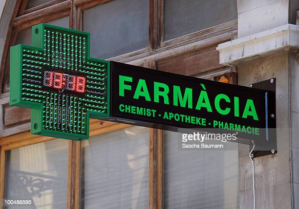 The sign of a Spanish pharmacy seen in Palma de Mallorca May 24 2010 in Palma de Mallorca Spain