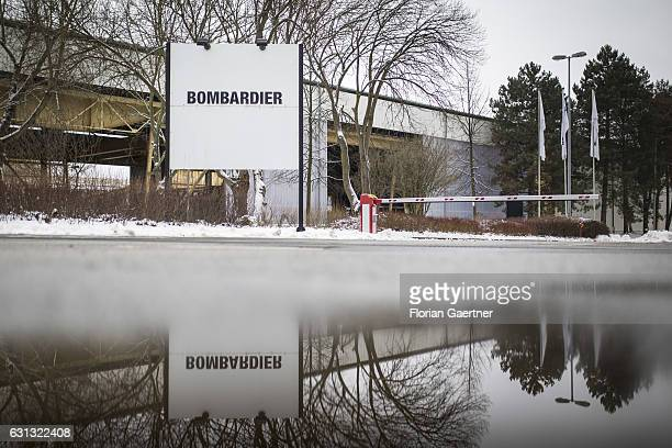 The sign of Bombardier is captured in front of its plant on January 09 2017 in Bautzen Germany According to media reports Canadian train manufacturer...