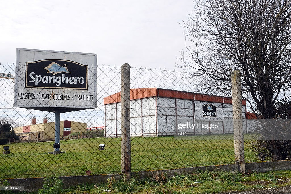 The sign of Spanghero, French meat food industrial factory, is pictured at a warehouse in Castelnaudary, southeastern France, on February 10, 2013. A Europe-wide food fraud scandal over horsemeat sold as beef deepened on February 9, 2013 as Romania announced an inquiry into the origin of the meat and suspicions of criminal activity mounted.