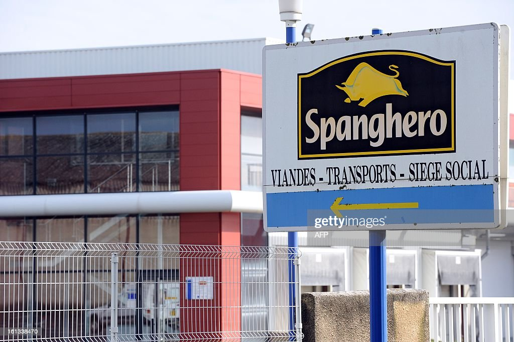 The sign of Spanghero, French meat food industrial factory, is pictured at the entrance of the plant in Castelnaudary, southeastern France, on February 10, 2013. A Europe-wide food fraud scandal over horsemeat sold as beef deepened on February 9, 2013 as Romania announced an inquiry into the origin of the meat and suspicions of criminal activity mounted.