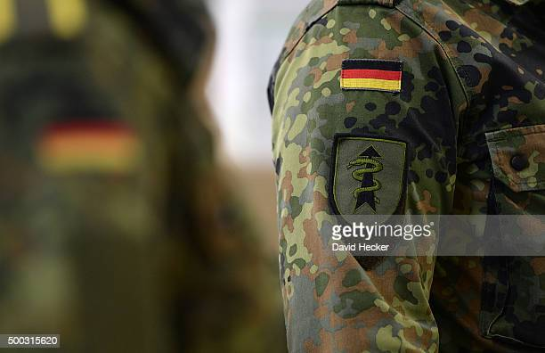 The sign of the 'Ostfriesland' rapidreaction medical unit of the Bundeswehr the German armed forces is to be seen on an arm during a visit from...