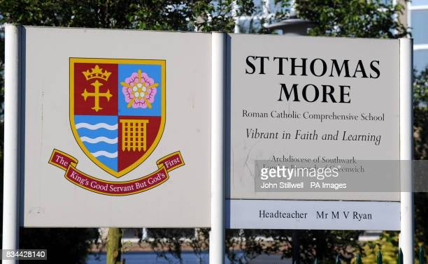The sign on the main gate of St Thomas More School in Eltham south east London where 16 yearold Jimmy Mizen who was murdered on Saturday morning was...
