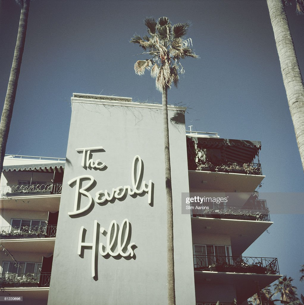 The sign on the side of the Beverly Hills Hotel on Sunset Boulevard in California 1957