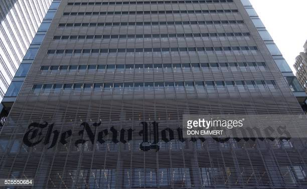 The sign on the west side of the New York Times building at 620 Eighth Ave April 28 2016 in New York / AFP / DON EMMERT