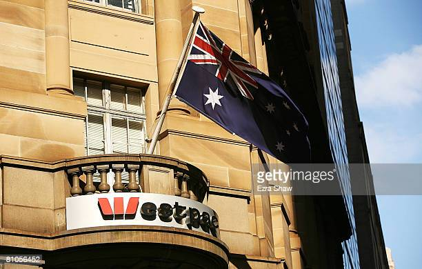 The sign outside a Westpac bank on May 12 2008 in Sydney Australia Australian financial institutions Westpac and St George Bank announced today that...