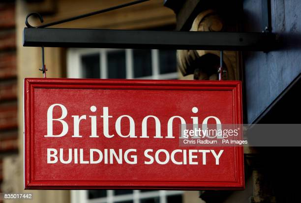 The sign outside the Britannia building society in Cambridge Cambridgeshire