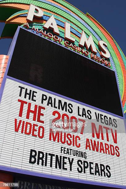 The sign outside the Palms Casino announces the 2007 MTV Video Music Awards featuring Britney Spears 09 September 2007 in Las Vegas Nevada AFP...