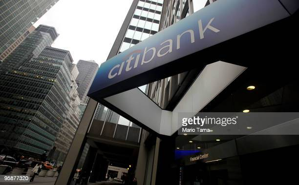 The sign to a Citibank branch is seen in Manhattan January 19 2010 in New York City Citigroup Inc reported a $76 billion fourthquarter loss caused by...