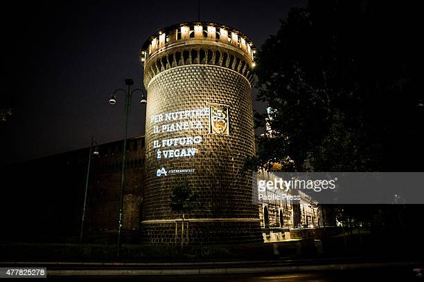 The sign 'To feed the planet the future is Veganism' was projected yesterday night on the Castello Sforzesco in Milan Italy by 'Essere Animali'...