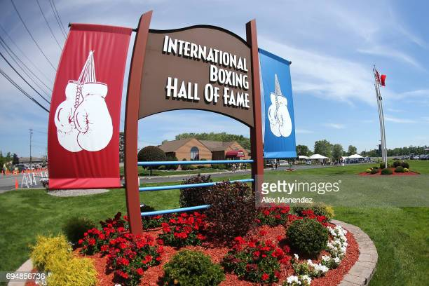 The signage for the International Boxing Hall of Fame is seen during the International Boxing Hall of Fame induction Weekend of Champions event on...