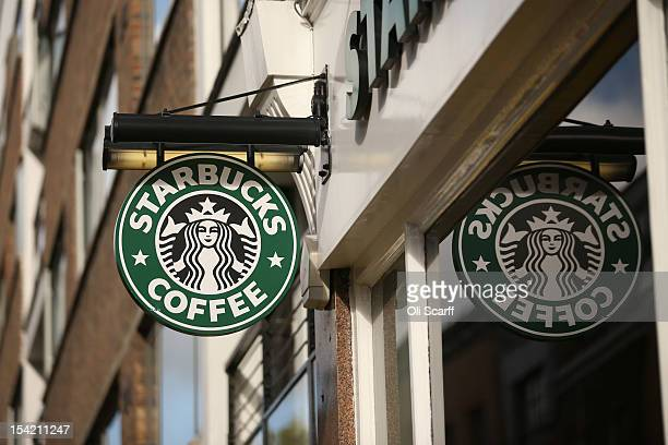 The signage on a branch of Starbucks Coffee on October 16 2012 in London England It has been reveled that Starbucks the world's second largest coffee...