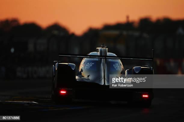 The Signatech Alpine Matmut of Romain Dumas Gustavo Menezes and Matthew Rao drives during the Le Mans 24 Hours race at the Circuit de la Sarthe on...