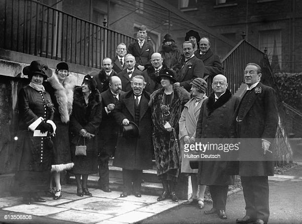 The signatories of the Treaties of Locarno in the garden of 10 Downing Street Prime Minister Stanley Baldwin is on the far right French Foreign...