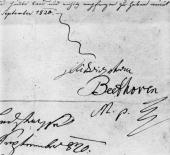 The signature of German composer Ludwig Van Beethoven on a letter dated September 1820