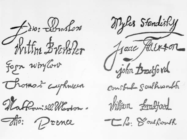 21 Nov Pilgrims sign the Mayflower Compact Photos and