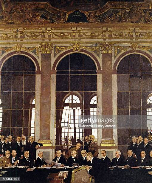 The Signing of Peace in the Hall of Mirrors Versailles Painted by William Orpen an Irish portrait painter who worked mainly in London Dated 1919