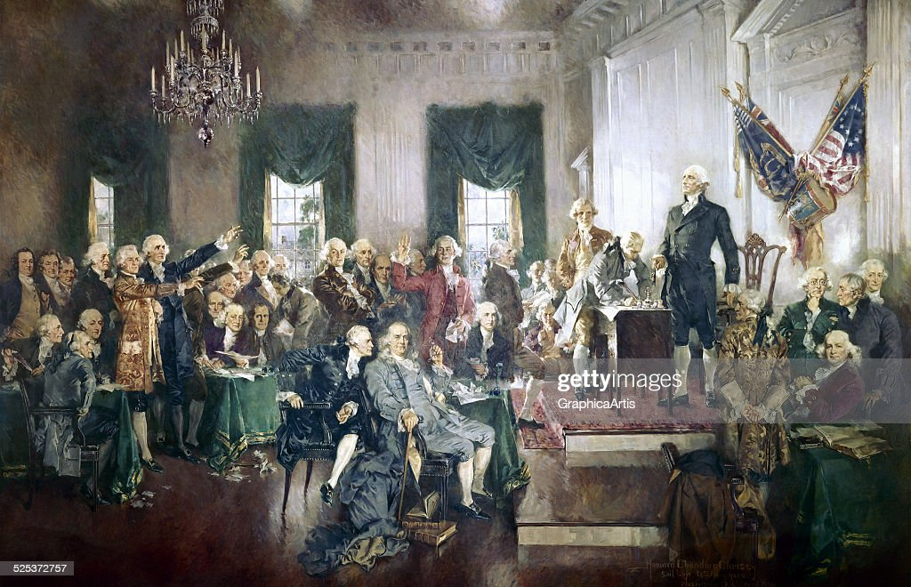 The Signing of the Constitution of the United States, with <a gi-track='captionPersonalityLinkClicked' href=/galleries/search?phrase=George+Washington&family=editorial&specificpeople=67214 ng-click='$event.stopPropagation()'>George Washington</a>, <a gi-track='captionPersonalityLinkClicked' href=/galleries/search?phrase=Benjamin+Franklin&family=editorial&specificpeople=77750 ng-click='$event.stopPropagation()'>Benjamin Franklin</a>, and <a gi-track='captionPersonalityLinkClicked' href=/galleries/search?phrase=Thomas+Jefferson&family=editorial&specificpeople=67230 ng-click='$event.stopPropagation()'>Thomas Jefferson</a> at the Constitutional Convention of 1787; oil painting on canvas by Howard Chandler Christy, 1940. The painting is 20 by 30 feet and hangs in the United States Capitol building.