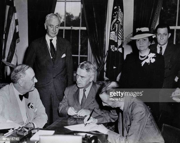 The signing of the Declaration of Philadelphia took place at the White House Washington DC on 17 May 1944 Seated left to right US President Franklin...