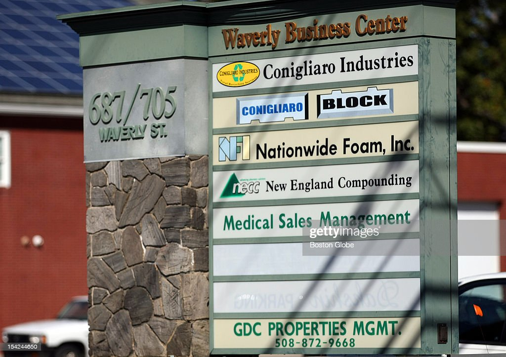 The signs outside Waverly Business Center, home of New England Compounding Center (NECC), which is connected to an outbreak of meningitis.
