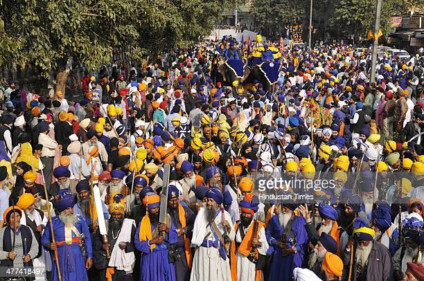 The sikh people during the Delhi Fateh Diwas march from Yamuna Bazar to Red fort on March 9 2014 in New Delhi India Delhi Fateh Diwas march celebrate...