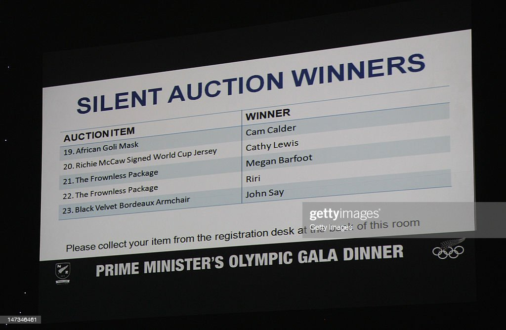 The silent auction results are seen during the launch of the New Zealand Olympic Team uniform at the Prime Minister's Olympic Gala Dinner at the Viaduct Events centre on June 28, 2012 in Auckland, New Zealand.