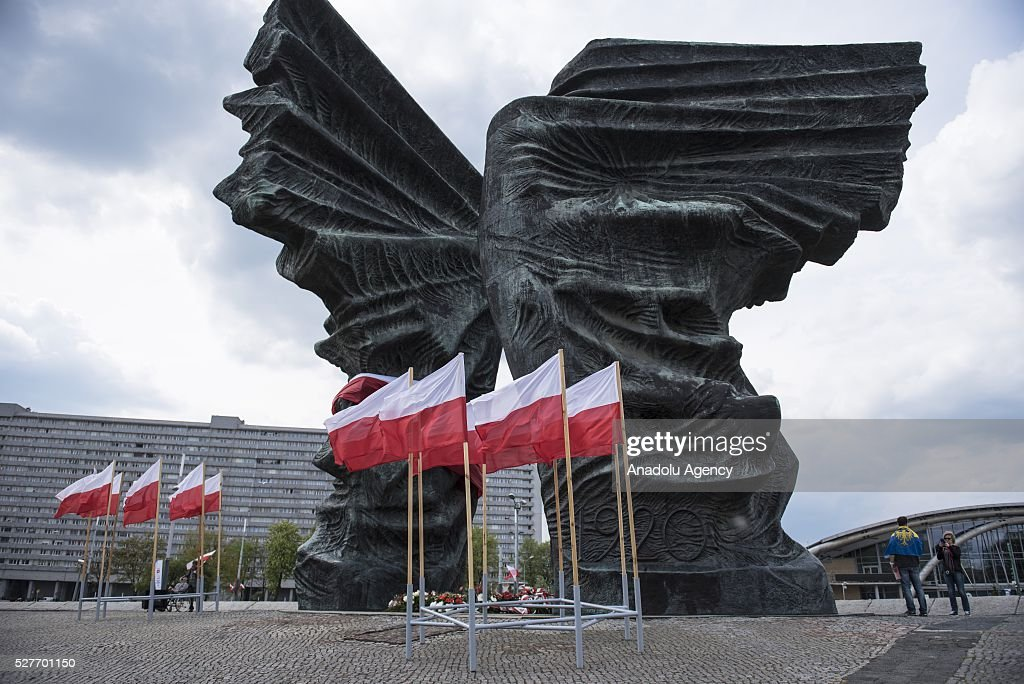 The Silesian Insurgents' Monument is decorated with a Polish flag during the 'Nation says STOP' protest, an anti-government protest against Law and Justice Party government at the Silesian Insurgents' Monument, Katowice, Poland on May 03, 2016.