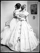 The Silhouette a study of the Gerson sisters in their crinoline ball gowns 1906 Silver print
