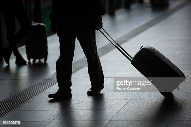 The silhouette of a suitcase is captured at the central station on August 19 2016 in Berlin Germany