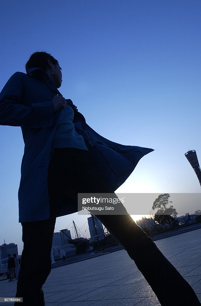 the silhouette of a woman, evening : Stock Photo
