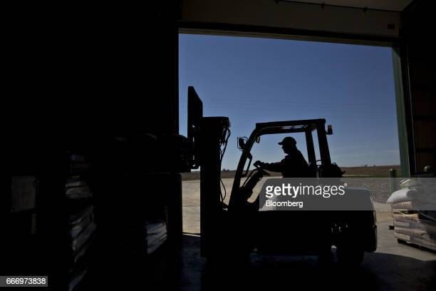 The silhouette of a worker operating a forklift is seen at the MJ Seed Inc facility in Manlius Illinois US on Friday April 7 2017 The world has been...