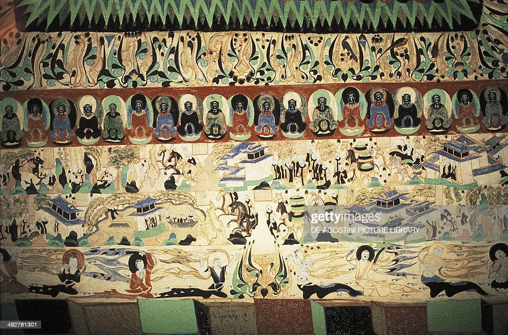 The Silk Road detail of a fresco in Dunhuang Buddhist cave Turkestan China