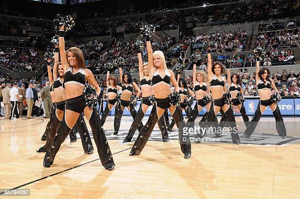 The Silver Dancers of the San Antonio Spurs perform on court during a time out against the Phoenix Suns at the ATT Center on March 8 2009 in San...
