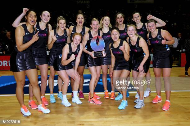 The Silver Ferns celebrate defeating Australia to win the Quad Series in the 2017 Quad Series match between the New Zealand Silver Ferns and the...