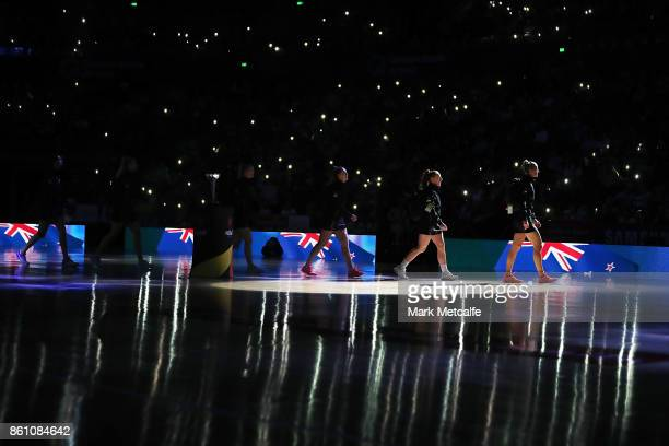 The Silver Ferns team take to the court before the 2017 Constellation Cup match between the Australian Diamonds and the New Zealand Silver Ferns at...