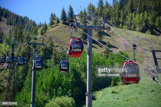 The Silver Queen Gondola takes riders up Ajax Mountain from its boarding station in downtown Aspen Colorado