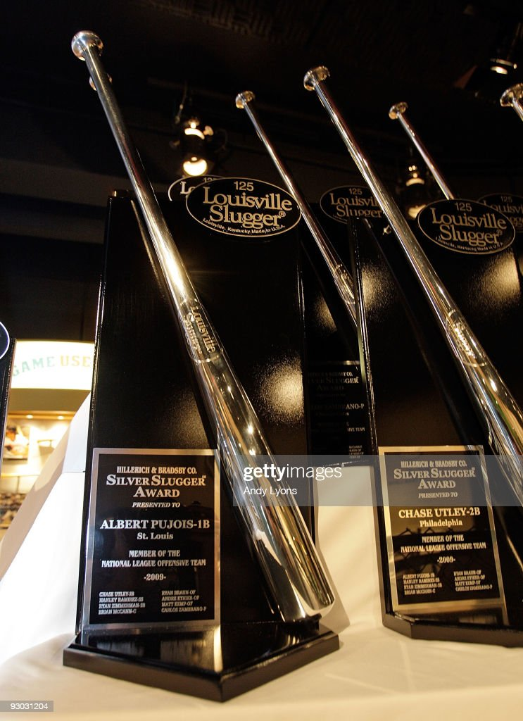 The Silver Slugger Awards for Albert Pujois of the St. Louis Cardinals is displayed at the Louisville Slugger Museum and Plant on November 13, 2009 in Louisville, Kentucky. Louisville Slugger presents the awards each year based on a vote of Major League Baseball coaches and managers for the best offensive producers at each position in both the National and American Leagues.