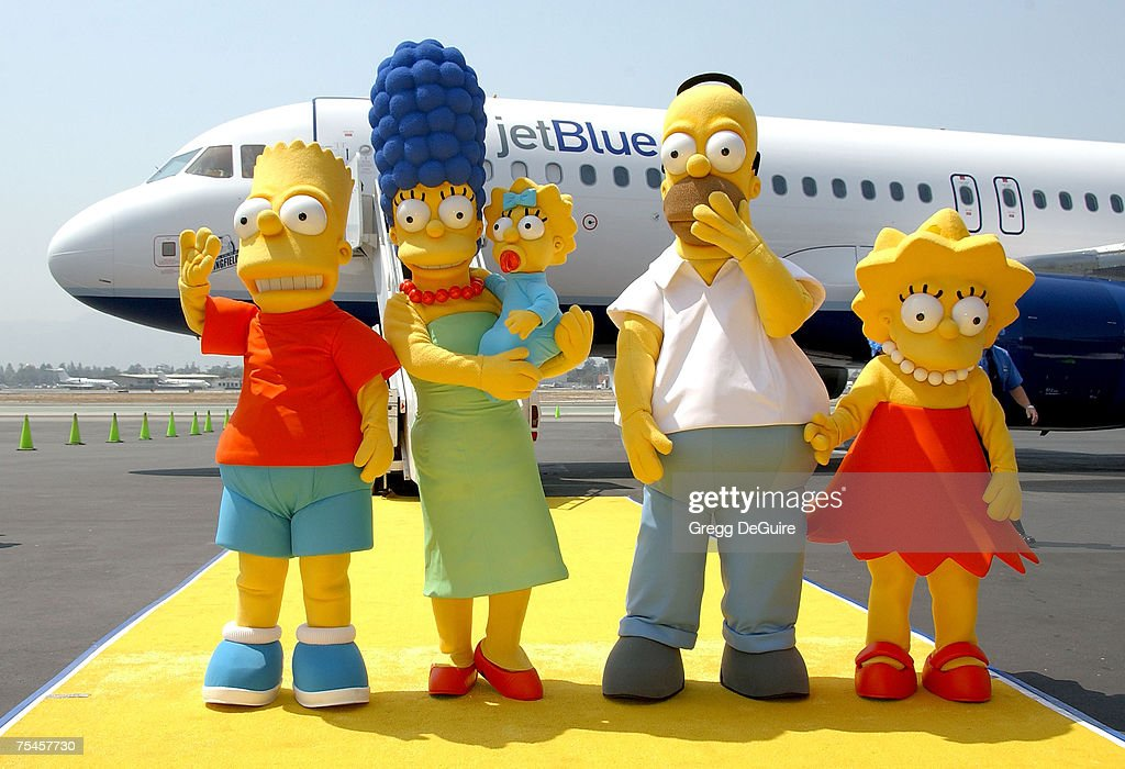The Simpsons family members Homer Marge Bart Lisa and Maggie Simson attending the 'Simpsons JETBLUE Event' at the Million Air Burbank on July 17 2007...